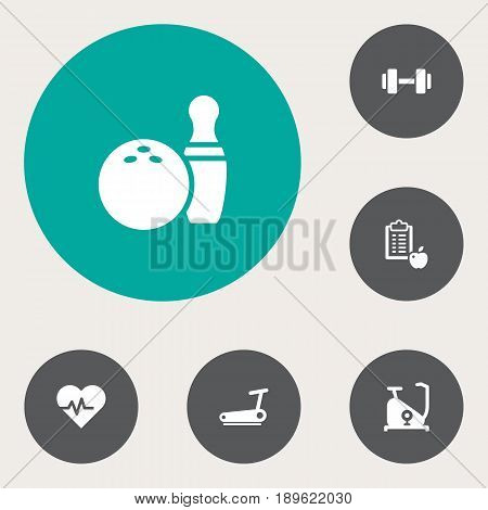 Set Of 6 Training Icons Set.Collection Of Kegling, Barbell, Training Bicycle And Other Elements.