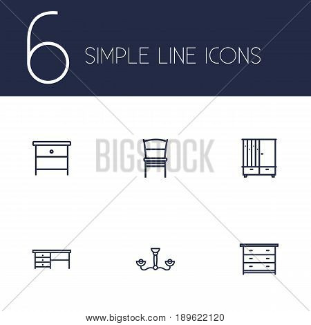 Set Of 6 Decor Outline Icons Set.Collection Of Chandelier, Chair, Desk Elements.