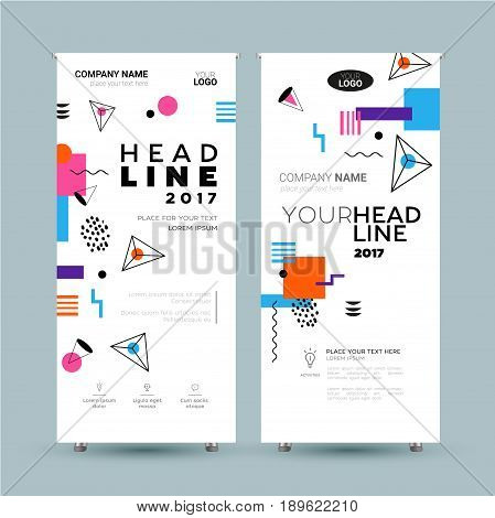 Corporate Banner - vector template illustration with abstract flat design background. Make your company look good. Headline and topic. Modern outlook with different shapes. Copy space for your logo.