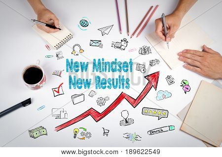 New Mindset New Results Concept. The meeting at the white office table.