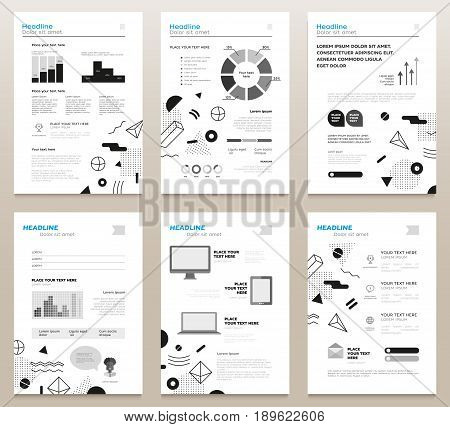 Presentation booklets - vector template a4 size pages with black and white abstract flat design background. Infographics, charts. Modern outlook with different shapes. Copy space for your information.
