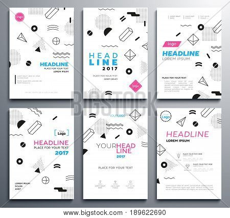 Presentation booklet covers - vector template a4 pages with abstract flat design background. Make your presentation look good. Headline and topic. Modern outlook with different shapes. Copy space for your logo.
