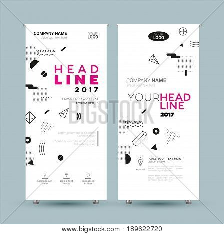 Corporate Banner - vector template illustration with abstract background. Make your company look good. Headline and topic. Modern outlook with different shapes. Copy space for your logo.