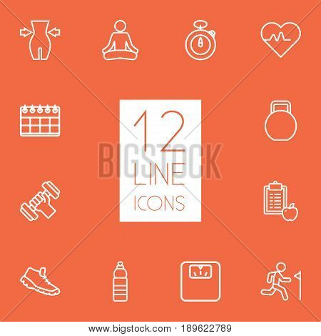 Set Of 12 Fitness Outline Icons Set.Collection Of Workout, Diet, Scales And Other Elements.