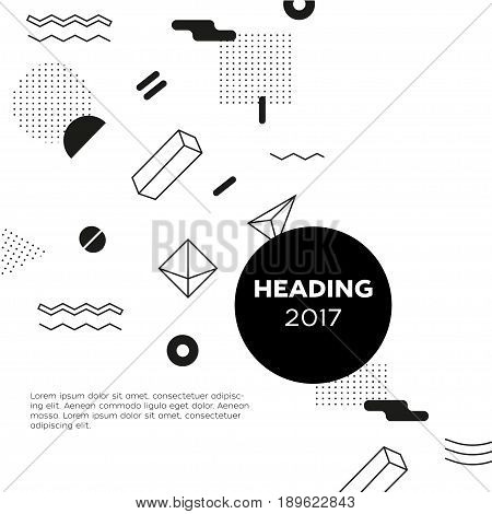 Abstract Background - vector template black and white illustration for your presentation. Make your idea look good. Heading with date. Modern outlook with different shapes. Copy space for your information.
