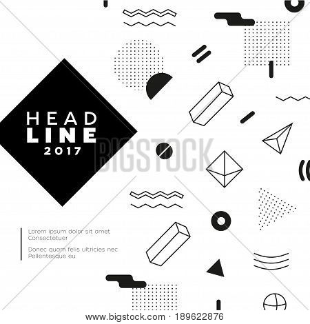 Abstract Background - vector template black and white illustration for your presentation. Make your idea look good. Headline with date. Modern outlook with different shapes. Copy space for your information.