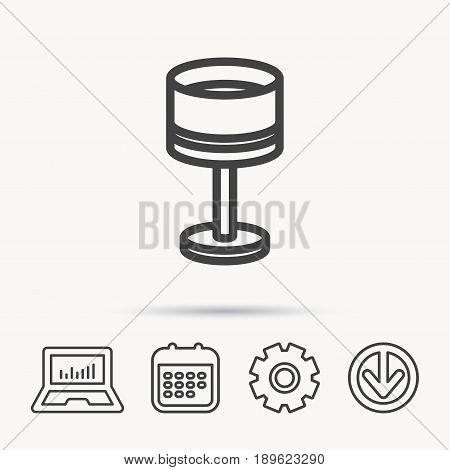 Table lamp icon. Desk light sign. Notebook, Calendar and Cogwheel signs. Download arrow web icon. Vector