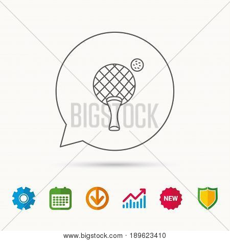 Table tennis icon. Ping pong sign. Professional sport symbol. Calendar, Graph chart and Cogwheel signs. Download and Shield web icons. Vector