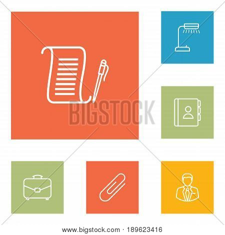 Set Of 6 Cabinet Outline Icons Set.Collection Of Agreement, Fastener Paper, Telephone Directory And Other Elements.