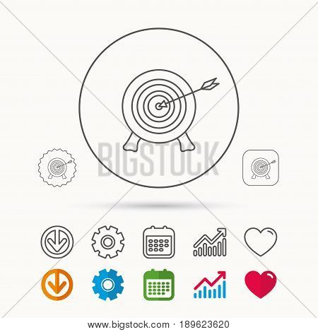 Target with arrow icon. Archery aiming sign. Professional shooter sport symbol. Calendar, Graph chart and Cogwheel signs. Download and Heart love linear web icons. Vector