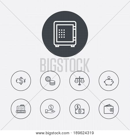 Set Of 9 Budget Outline Icons Set.Collection Of Justice, Safe, Exchange And Other Elements.