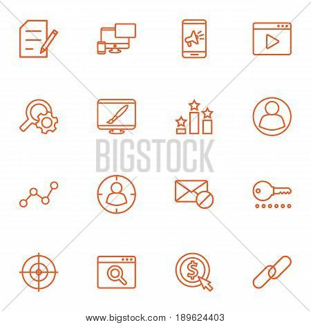 Set Of 16 Search Outline Icons Set.Collection Of Block, Blogging, Web Design And Other Elements.