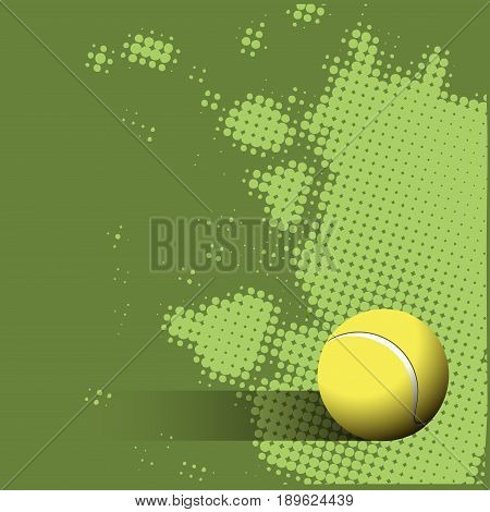 Illustration Tennis Ball on a Green Background