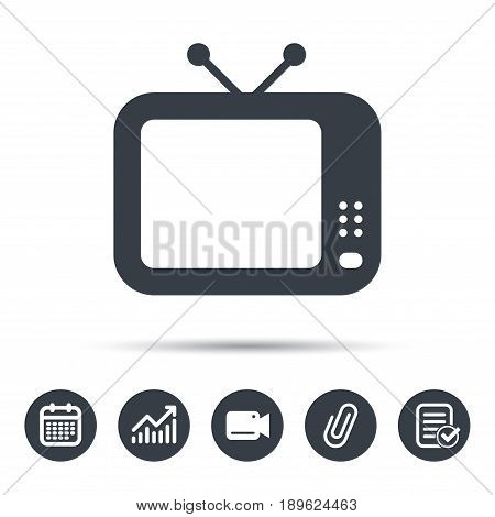 TV icon. Retro television symbol. Calendar, chart and checklist signs. Video camera and attach clip web icons. Vector