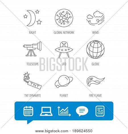 Ufo, planet and telescope icons. World, global network and night linear signs. TNT dynamite, fire flame and wind flat line icons. Report file, Graph chart and Chat speech bubble signs. Vector