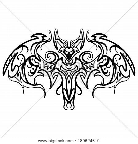 The stylized image of a doodle bat. Vector stylized of ink sketch doodle bat. Bat tribal tattoo Vector illustration.
