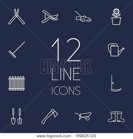 Set Of 12 Horticulture Outline Icons Set.Collection Of Shears, Palisade, Waterproof Shoes And Other Elements.