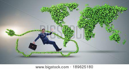 Businessman in global warming concept