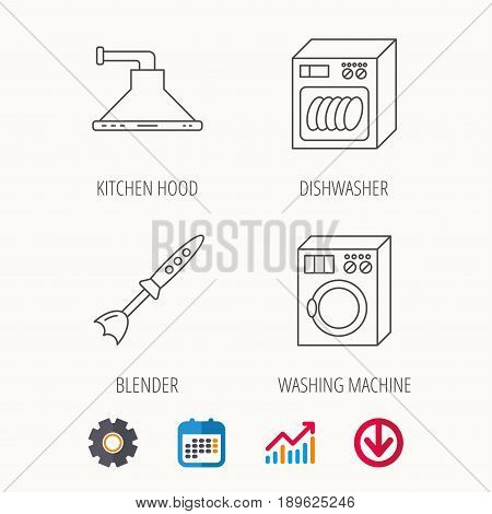 Dishwasher, washing machine and blender icons. Kitchen hood linear sign. Calendar, Graph chart and Cogwheel signs. Download colored web icon. Vector