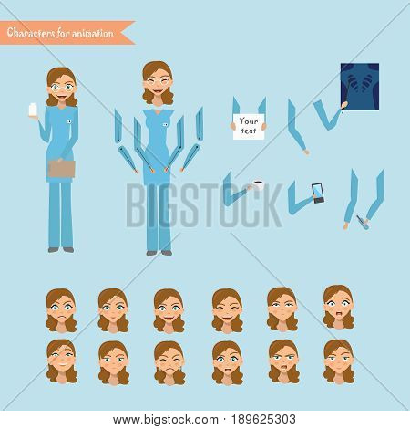 Nurse at work. Vector illustration of cheerful nurse. Set for animation