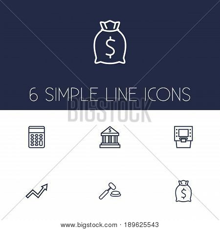 Set Of 6 Budget Outline Icons Set.Collection Of Calculator, Atm, Grow Up And Other Elements.
