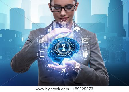Artificial intelligence concept with brain and businesswoman