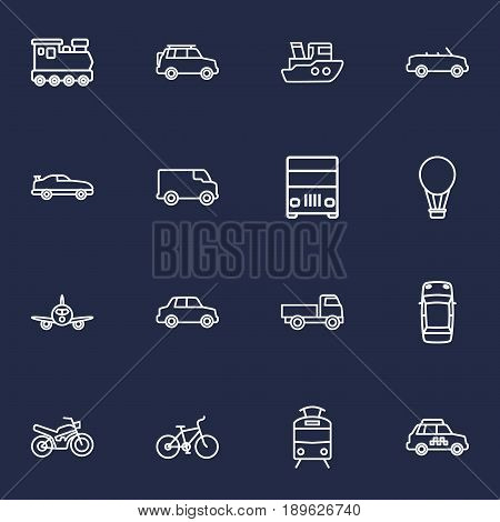 Set Of 16 Transport Outline Icons Set.Collection Of Car, Lorry, Taxi And Other Elements.