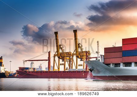 Bangkok pier and cargo shipping terminal. Business transportation.