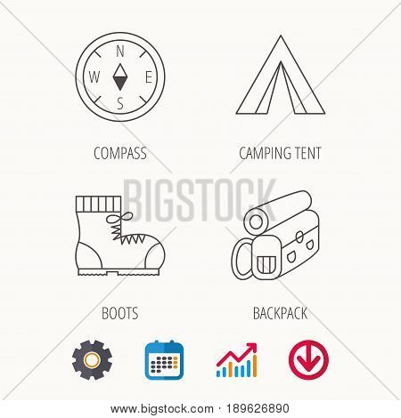 Backpack, camping tend and hiking boots icons. Compass linear sign. Calendar, Graph chart and Cogwheel signs. Download colored web icon. Vector