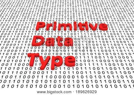 Primitive data type as binary code 3D illustration