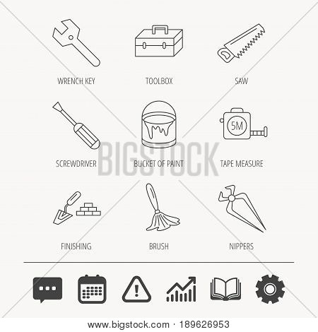 Wrench key, screwdriver and paint brush icons. Toolbox, nippers and saw linear signs. Finishing spatula icon. Education book, Graph chart and Chat signs. Attention, Calendar and Cogwheel web icons