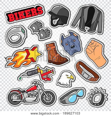 Biker Doodle with Motorcycle, Sunglasses and Helmet. Chopper Stickers, Badges and Patches. Vector illustration