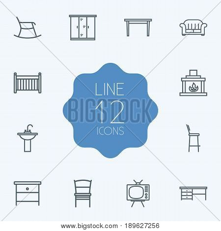Set Of 12 Decor Outline Icons Set.Collection Of Tv Set, Chair, Crib And Other Elements.