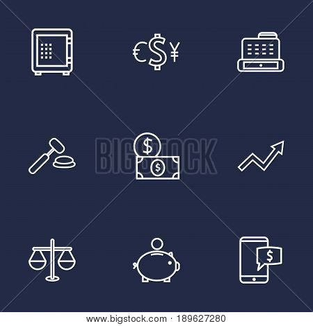 Set Of 9 Budget Outline Icons Set.Collection Of Cash Register, Auction, Justice And Other Elements.