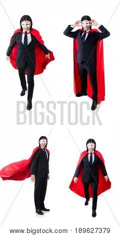 Man in red cover isolated on white