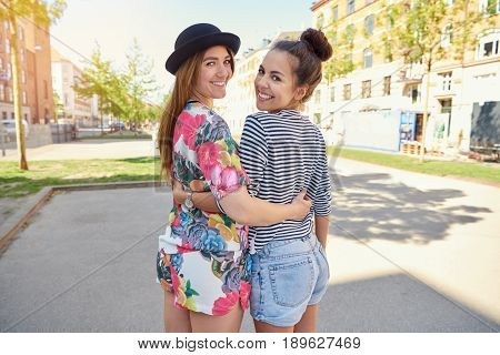 Two Trendy Attractive Young Women In Town