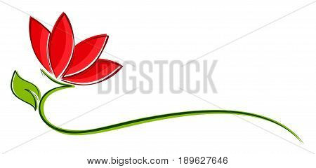 A logo of the stylized red flower.