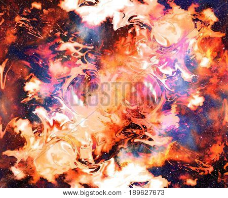 Fire flame in space. Cosmic space and stars, color cosmic abstract background