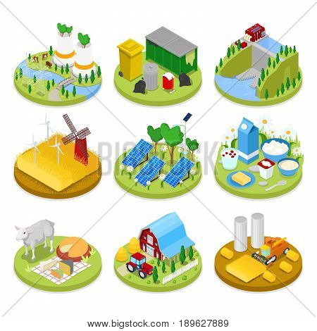 Isometric Ecology Concept. Renewable Energy. Agriculture Industry. Healthy Natural Food. Vector flat 3d illustration