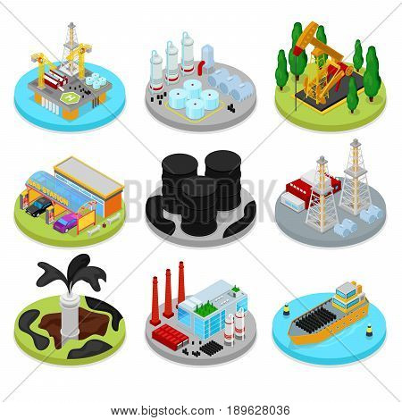 Isometric Oil Industry. Industrial Plant, Platform Drilling and Barrels. Fuel Production. Vector flat 3d illustration