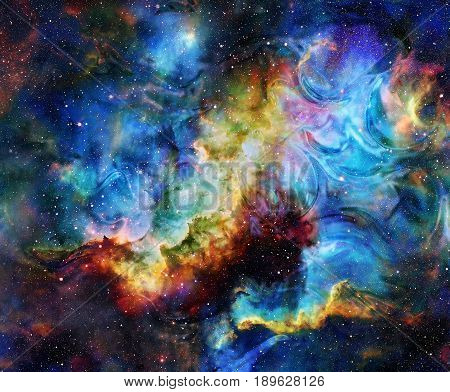 Color flame in space. Cosmic space and stars, color cosmic abstract background