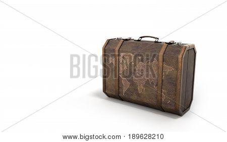 Vintage Travel Suitcase 3D Render On White Background