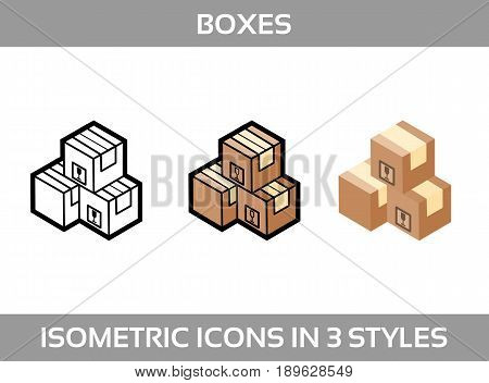 Simple Set ofIsometric packaging boxes Vector 3DIcons. Color isometric icons in three styles. Cardboard boxes