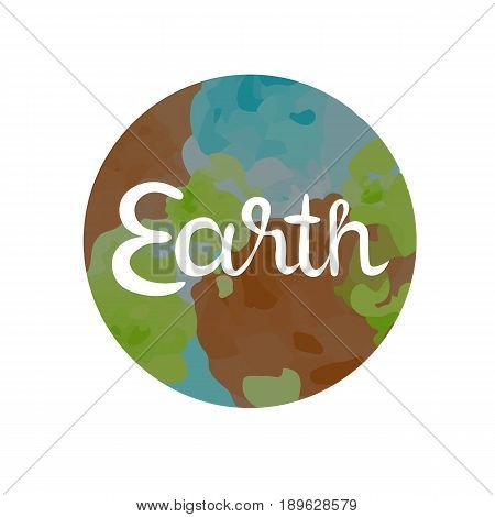 Earth symbol of The Four Elements with lettering isolated on white vector illustration