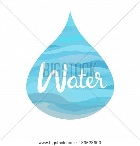 symbol of The Four Elements with lettering.Water splash,water drop,water puddle. isolated on white vector illustration