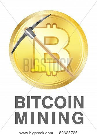 bitcoin mining with pickaxe on golden bitcoin logo