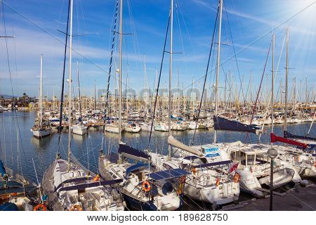 Barcelona Spain - 26 March 2017: Sailing Ships in Port Vell in Barcelona. Port Vell is a waterfront harbor in Barcelona Catalonia Spain and part of the Port of Barcelona.