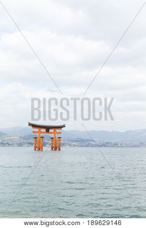 Itsukushima Shrine with sunshine