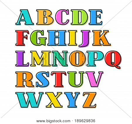 English alphabet colorful letters, black outline, vector. Capital letters with serif on a white background. Black outline is offset to the side.