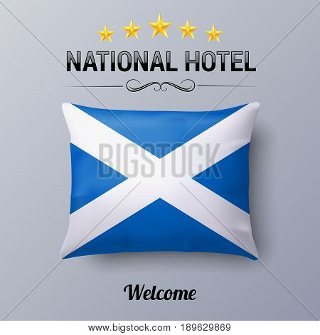 Realistic Pillow and Flag of Scotland as Symbol National Hotel. Flag Pillow Cover with Scottish flag